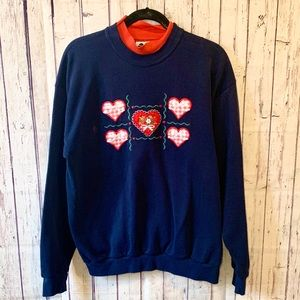 Vintage Embroidered Flower & Hearts Sweatshirt